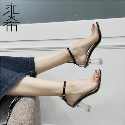 凉鞋女夏2018新款一字扣带露趾粗跟小清新高跟鞋女透明仙女水晶鞋
