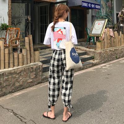 甜美俏皮两件套女夏2018新款显瘦上衣+格子休闲裤小香风网红套装