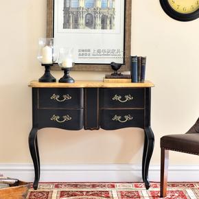 美式乡村玄关桌法式仿古做旧玄关台新古典实木玄关柜北欧客厅家具