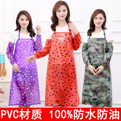 防水防油PVC围裙 厨房餐厅长款围腰工作服男女成人罩衣耐磨围裙