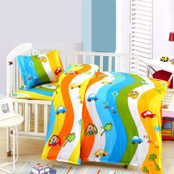 婴儿床上用品新生儿三件套件定做尺寸儿童床单纯棉宝宝小被套单件