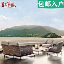 户外沙发藤沙发创意软装藤艺沙发茶几售楼部室外庭院实木藤椅组合