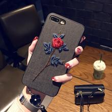 刺绣花苹果7plus手机壳挂绳iPhone6sp保护套女款苹果X防摔i8软壳