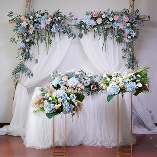 婚庆粉色花艺拱门婚礼舞台迎宾区背景装 饰三角花排花墙酒店 新款