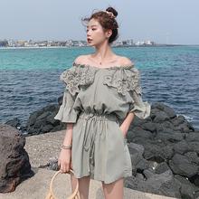 夏季2019新款连体裤短款高腰宽松休闲刺绣一字肩短袖上衣仙女网红
