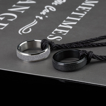Domineering mens ring long necklace index finger ring titanium steel personality tail ring men Tide single lettering custom Dragon ring