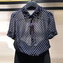 品牌女装专柜正品2019夏新款波点圆点系带洋气蝴蝶结雪纺短袖衬衫