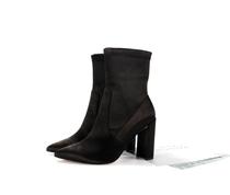 新款粗跟套筒厚底靴子马丁靴2017鞋短筒靴子女鞋秋冬季