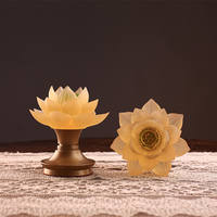 Ancient law glass led charging lotus lamp Buddha front lamp battery plug-in for Buddha light Buddhism supplies pure copper for lights