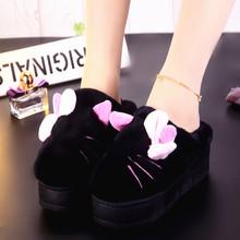棉拖鞋女厚底冬季韩版可爱增高防水高跟加厚松糕跟室内毛毛绒冬天
