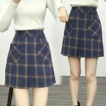 加大码高腰格子裙女装新春款口袋a字短裙毛呢半身裙 胖mm修身裙子
