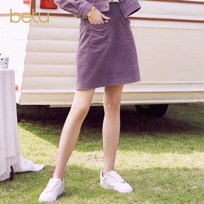 百图灯芯绒短裙女2019春装新款A字群女修身显瘦高腰半身裙女短裙