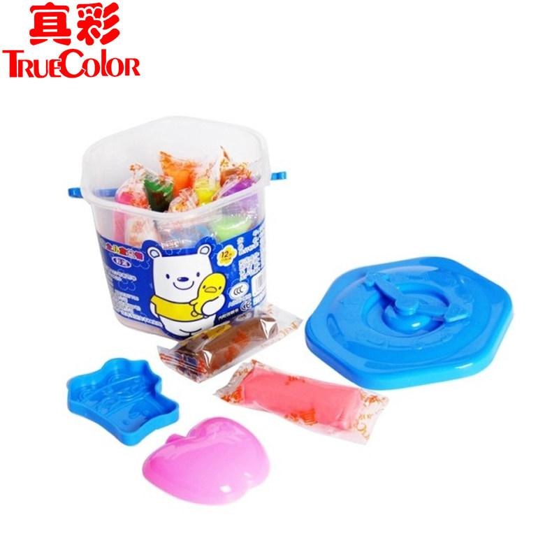 真彩橡皮泥彩泥套装轻粘土12色儿童小学生玩具益智手工DIY带模具
