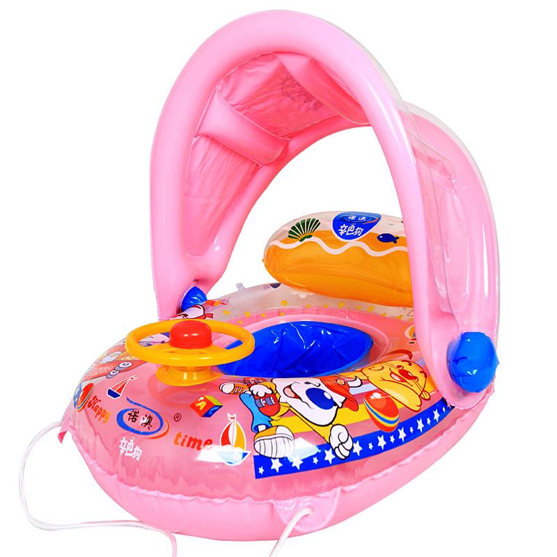 诺澳儿童游泳圈坐圈遮阳宝宝婴幼儿男孩女孩坐骑腋下圈1-3-6岁