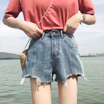 夏季新款韩版复古百搭磨破做旧牛仔短裤女高腰宽松须边阔腿裤热裤