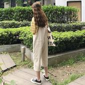 夏2018新款休闲裤女学生韩版宽松学院风显瘦百搭背带直筒裤七分裤