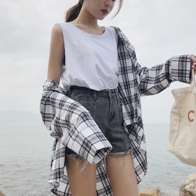 2018夏季新款韩版简约纯色百搭bf宽松显瘦休闲无袖背心女上衣学生