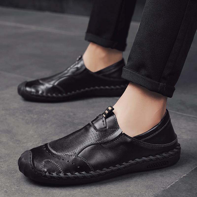 休闲皮鞋男英伦秋季驾车鞋男鞋子韩版套脚豆豆鞋男潮流百搭懒人鞋