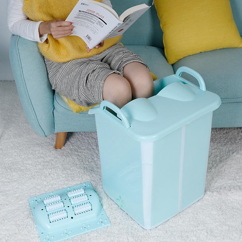 便携折叠泡脚桶加高带盖足浴盆塑料足浴桶洗脚桶家用洗脚盆高深桶