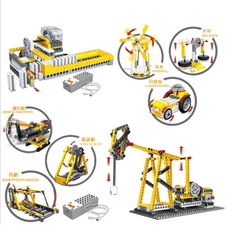 电动拼装积木齿轮马达科学实验套装青少年科技教育教具机器人器材