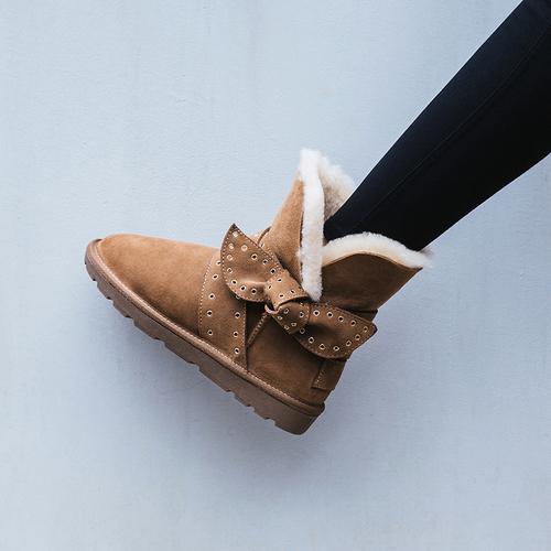 欧洲站2018秋冬新款棕色磨砂棉靴保暖加绒蝴蝶结皮毛一体雪地靴女
