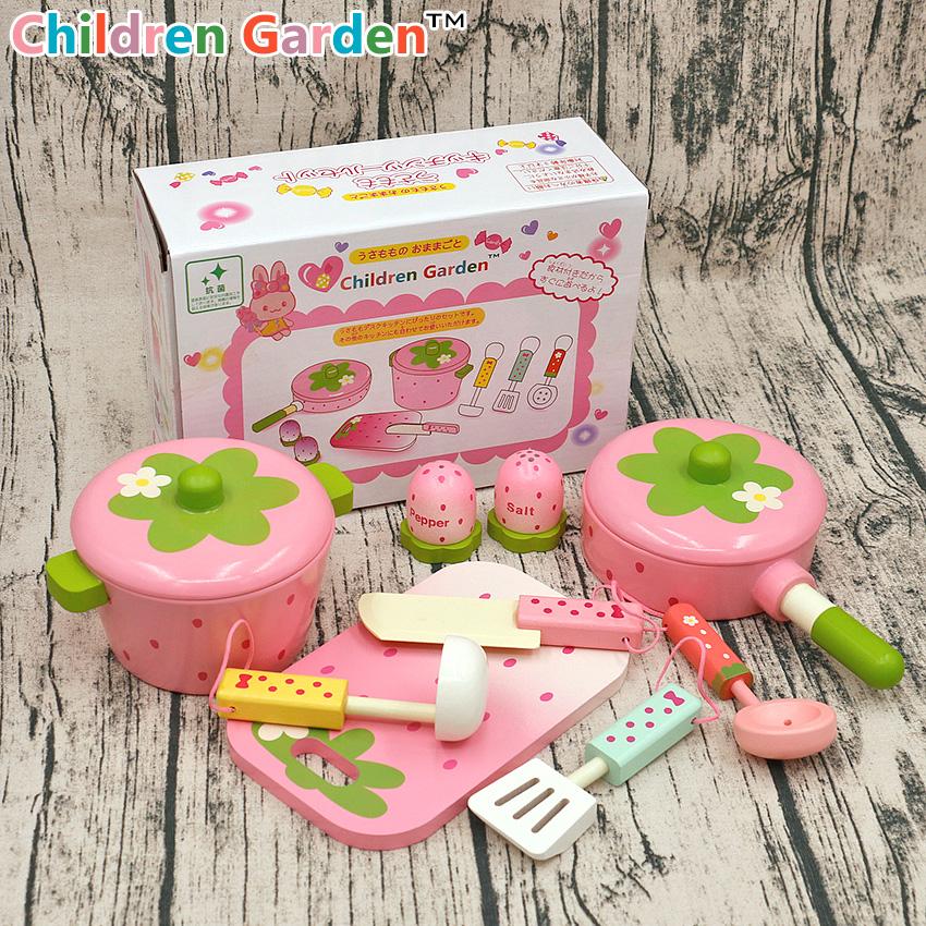 粉色厨房厨具橱柜套装 儿童木制过家家仿真做饭玩具 宝宝生日礼物