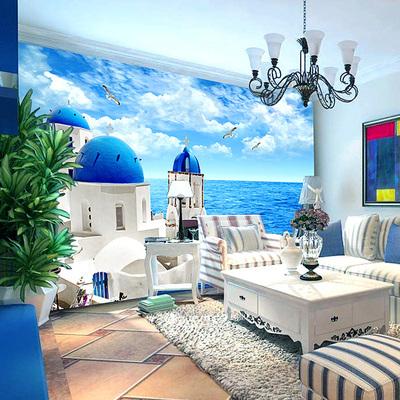 3d立体地中海墙纸 卧室客厅沙发餐厅电视背景墙壁纸 大型壁画城堡最新最全资讯