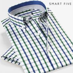 第五季 夏装时尚格子衬衫男短袖修身纯棉免烫商务休闲拼接男衬衣