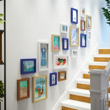 Kindergarten stairs photo wall green clock small fresh combination photo frame wall children decorative frame escalator creative