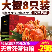 今旺阳澄湖大闸蟹 鲜活螃蟹 公3.5两母2.5两4对礼盒装 顺丰包邮