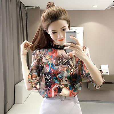 2018春夏新款女裝五分半袖雪紡衫韓版寬松顯瘦小衫印花兩件套上衣