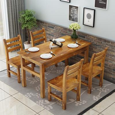 包邮碳化木桌椅农家乐饭店餐桌实木面馆小吃店快餐桌凳火锅店桌椅