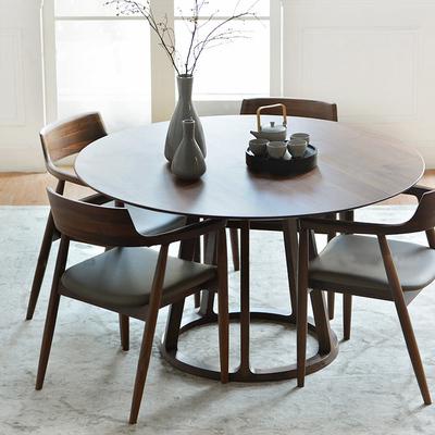 新品北欧实木圆餐桌椅组合简约黑胡桃木白橡木圆桌轻奢原木大饭桌哪个品牌好