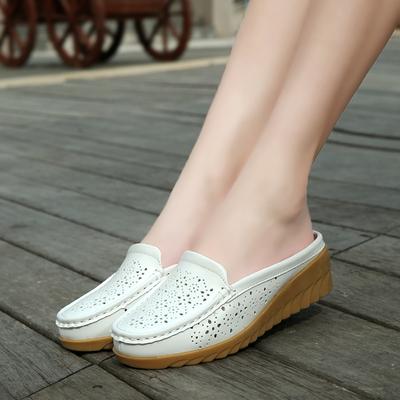 2018韩版新款夏季坡跟镂空女真皮时尚半拖鞋外穿平底懒人穆勒凉拖
