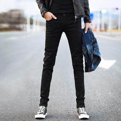 真维斯正品春季黑色弹力牛仔裤男士韩版修身青少年小脚裤潮男装春