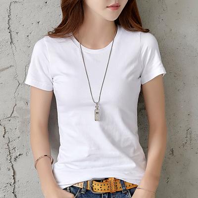 夏装2018新款白色t恤女短袖韩版简约纯棉修身短款显瘦半袖上衣服