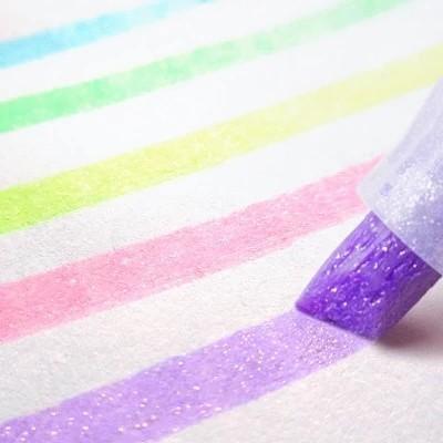 日本ZEBRA斑马荧光色笔星空KIRARICH闪亮珠光荧光笔手账涂鸦笔记标记学生用闪耀彩色粗划重点记号萤光笔WKS18