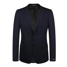 雅戈尔西服套装上衣男100羊毛西装商务正装藏青色条纹正品28606