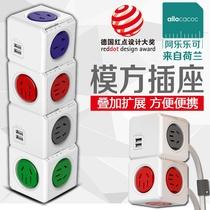 魔方插座电源转换器分插头一转二三四五多功能无线家用带开关多用