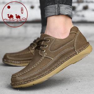 城市 骆驼男鞋秋季新款真皮户外休闲运动鞋子男厚底工装伐木皮鞋