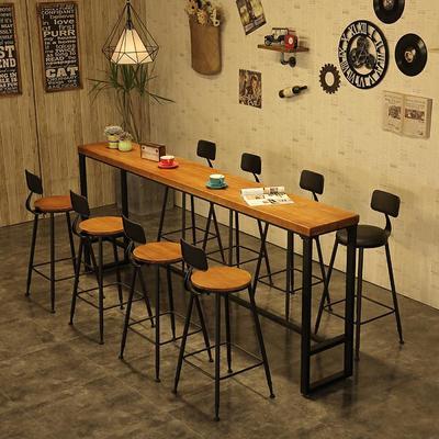 美式乡村靠墙吧台桌实体店