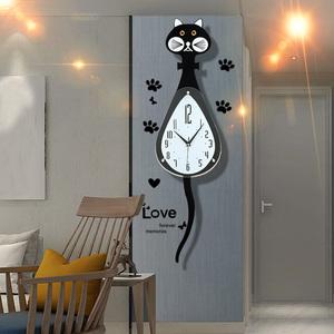 北欧猫咪钟表挂钟个性创意客厅现代简约挂表家用卧室可爱时尚时钟