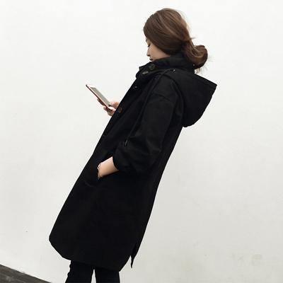 黑色风衣女中长款2018春秋新款韩国时尚气质秋款连帽小个子xs外套