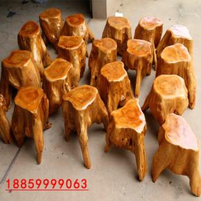 天然原木根雕凳子茶几坐凳花架底座木墩摆件实木树桩木凳树根木桩