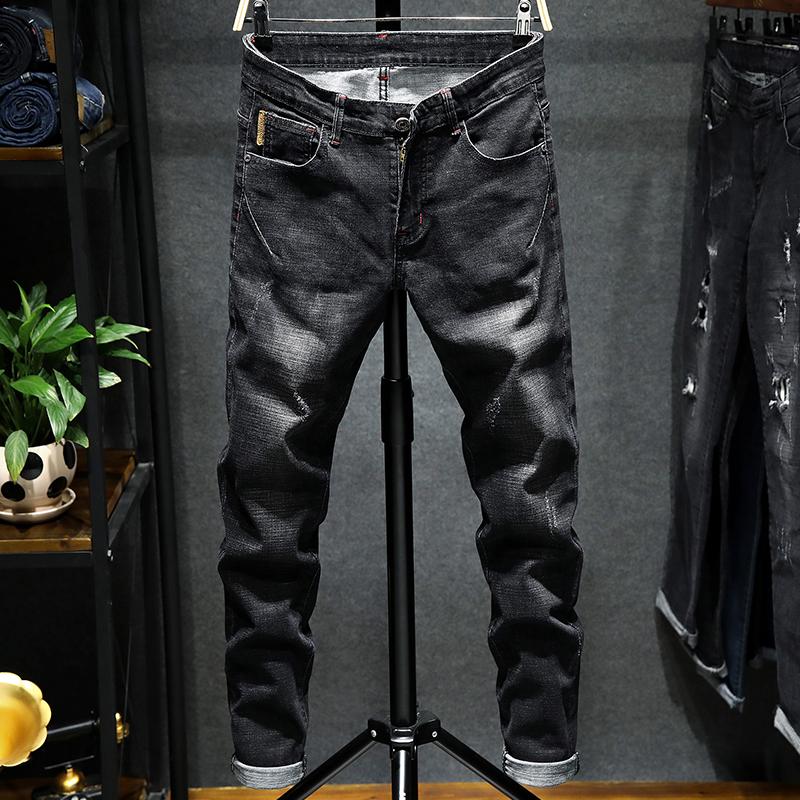 男小裤脚牛仔裤