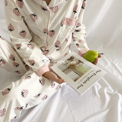 韩风纯棉睡衣套装秋冬季可爱草莓印花长袖长裤家居服宽松两件套女