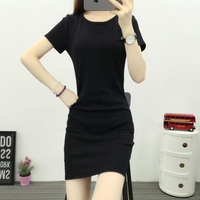 韩国2017春装新款短袖中长款圆领T恤修身显瘦半袖百搭体恤连衣裙
