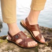 中年真皮凉鞋 软底沙滩鞋 男2018新款 休闲凉皮鞋 夏季凉拖男士 凉鞋