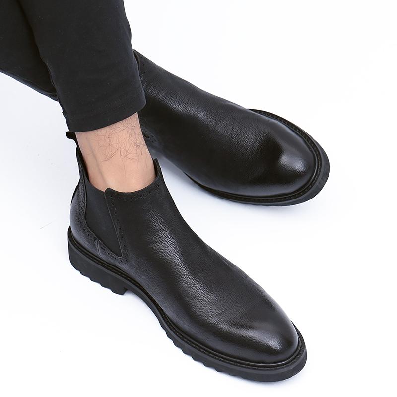 冬季加绒马丁靴男真皮百搭潮靴切尔西靴男英伦短靴保暖高帮皮鞋男