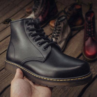 马丁靴男秋冬季英伦高帮军靴潮流百搭中帮真皮工装靴内增高短靴子